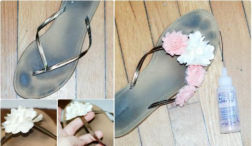 Летни чехли с цветя