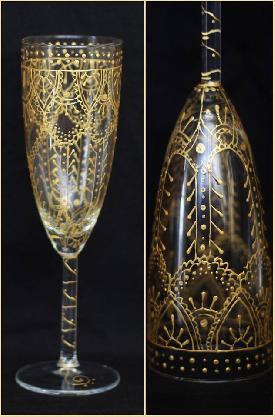 2 бр. ръчно рисувани чаши в ориенталски стил