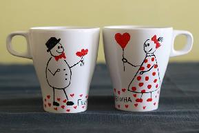 2 бр. ръчно рисувани чаши