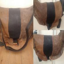 Асиметрична дамска чанта от естествена кожа