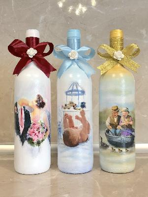 Бутилки за наричане, подарък от кумове за младоженци, сватбени бутилки