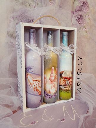 Бутилки за наричане в кутия -подарък за младоженци