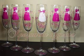 Чаши за моминско парти '' рокли  циклама''