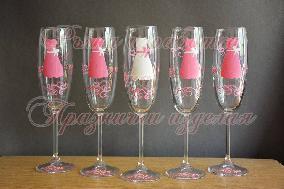 Чаши за моминско парти '' рокли  розови''
