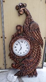 "часовник .дърворезба"" Паун"""