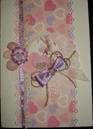 Цветна картичка със сърчица