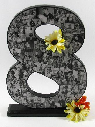 Декорирана дървена цифра със снимки