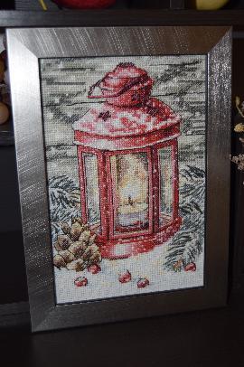 гоблен коледен фенер в червено