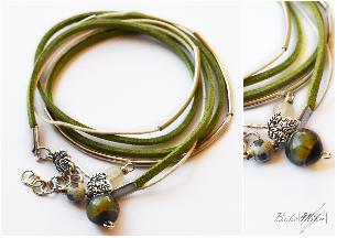 Green leaves triple bracelet
