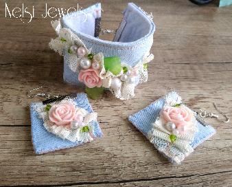 Гривна и обеци от дънков плат с рози