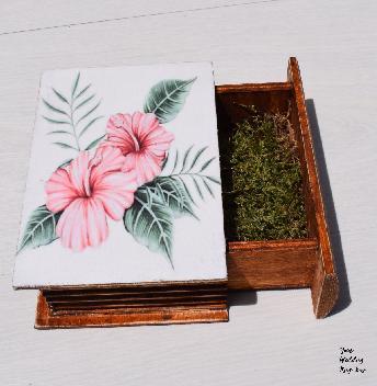 Хибискус тропически дизайн дървена сватбена кутия за халки, бижута, подаръци