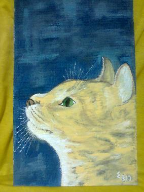 Картина котка темперни бои