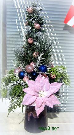 Коледа в синьо и розово
