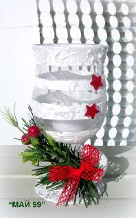 Коледен,стъклен свещник със светодиодна чаена свещ