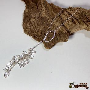 Колие с планински кристал и сребро