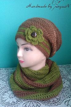 Комплект - леко висяща шапка и шал