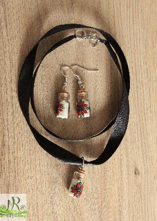 Комплект бижута от мини бурканчета със стилизирана българска шевица