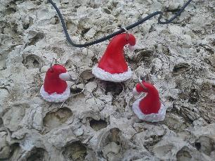 комплект колие и обици Коледни шапчици