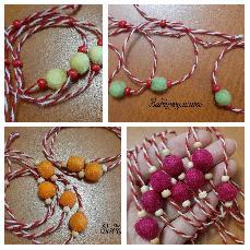 Мартенички за ръка с малко плъстено топче от вълна, изработени в различни цветове