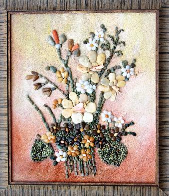 Нарциси - Картини от морски камъчета, раковинки, пясък