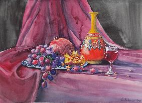 "Натюрморт ""Вино, нар и грозде"""