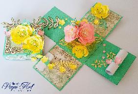 """Papi Art - ръчно изработена експлодираща кутийка """"Пролетна нежност"""""""
