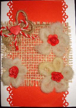 Ръчно израборена картичка за Баба Марта