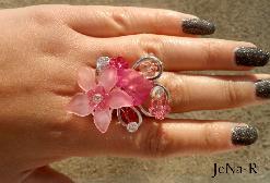 Ръчно изработен пръстен в розово