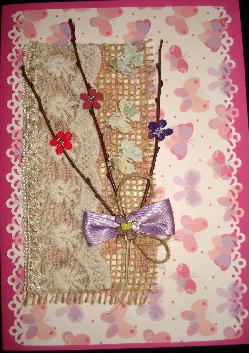 Ръчно изработена картичка с пеперуди