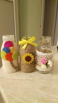 Ръчно изработени вазички от бебешки бурканчета и шишенца