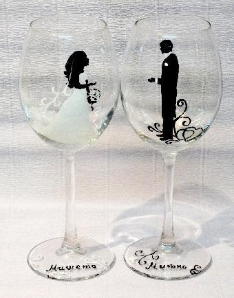 Ръчно рисувани ритуални чаши, подаръци за младоженци, сватбени аксесоари