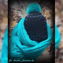 Шапка и шал ръчна изработка.