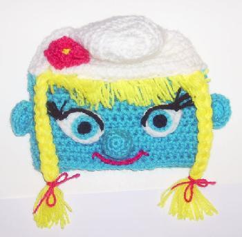 Шапка Смърфиета плетена