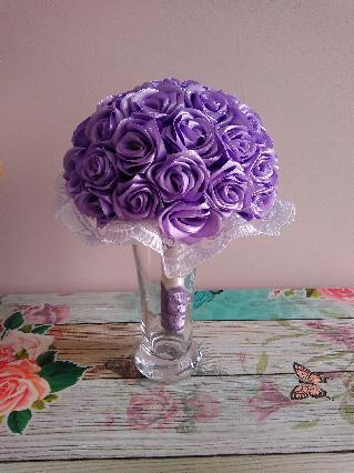 Сватбен букет с рози от сатен