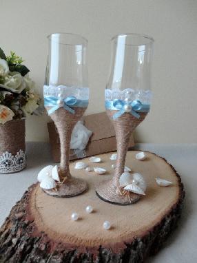 Сватбен комплект чаши и шампанско - Море