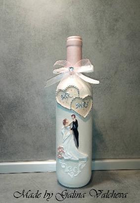 Сватбена бутилка с релефни елементи и вградени камъчета
