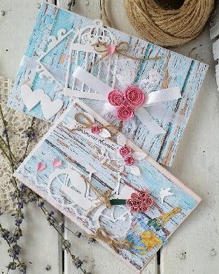 Сватбена картичка и плик с колело