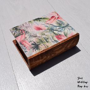 Сватбена кутия книга подарък за халки пръстени, бижута с тропически мотиви