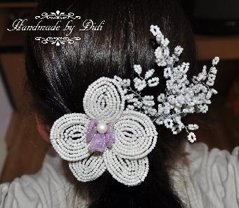 """сватбена украса за коса, булчински гребен за коса """"орхидея"""""""