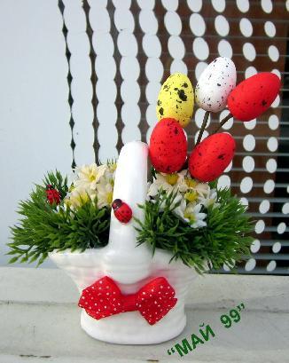 Великденска  мини бяла  кошничка