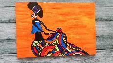 """""""Африканка"""" - картина върху дърво"""