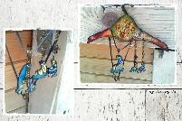 Арт бижута - Колие и обеци Крачета в синьо