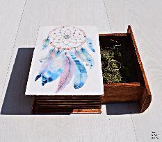 Бохо стил Сватбена кутия за халки пръстени, кутия за бижута, подарък ръчна изработка