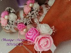 Бутониера гривничка в бяло и розово