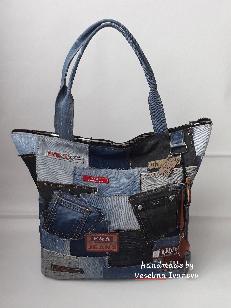 Чанта от разноцветен деним