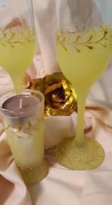"""Чаши за шампанско, комплект със свещник - """"Нежност"""""""