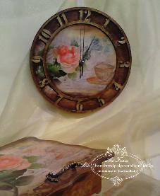 Часовник- Roses Time tea, decoupage