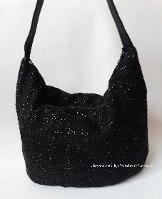Черна чанта плетен плат с ламе