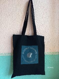 Черна памучна чанта с принт таралежче Чанта от плат Черна памучна торба със щампа