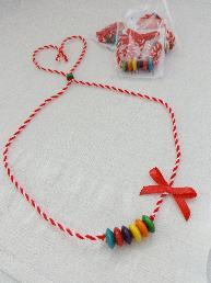 Дамска мартеница за врата Мартеница колие Детски гердан Цветна Памучна мартеница Колие